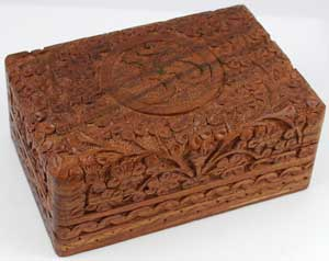 Om Wooden Carved Box 6