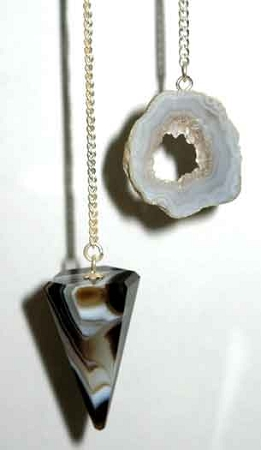 Black Onyx 6 sided geode pendulum