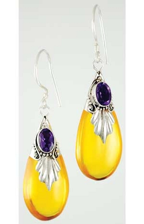 Amber Drop with Amethyst Earrings