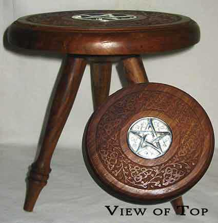 Large Inlaid Pentagram Altar Table