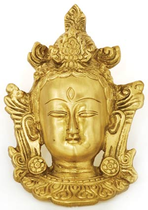 Brass Tara Mask Wall Plaque 4.5 inches