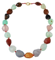 Faceted Tumbled Agate Mala