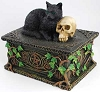 Black Cat with Skull Box