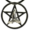 Crone Hat of Wisdom Pentagram Pendant