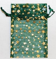 Green Organza Bag w/ Gold Stars