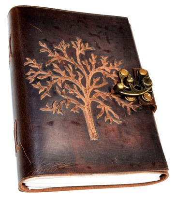 Tree leather blank book w/ latch