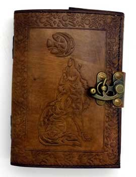 Celtic Wolf & Moon leather blank book w/ latch