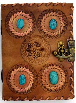 4 Turquoise Stones leather blank book w/ latch