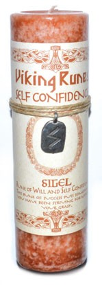 Self Confidence pillar candle with Silel rune pendant