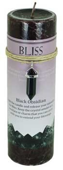 Bliss pillar candle with Black Obsidian pendant