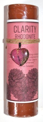 Clarity pillar candle with Rhodonite Heart Stone