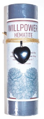 Willpower pillar candle with Hematite Heart