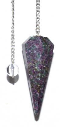 6-sided Ruby Zoisite pendulum