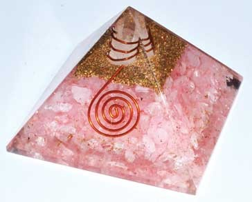 Orgone Rose Quartz & Quartz Point pyramid