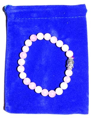 Rose Quartz & Buddha Bead in velvet bag bracelet