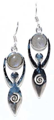 Goddess with labradorite moon earrings
