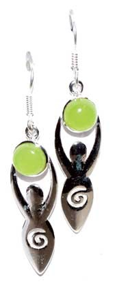 Goddess with prehnite moon earrings