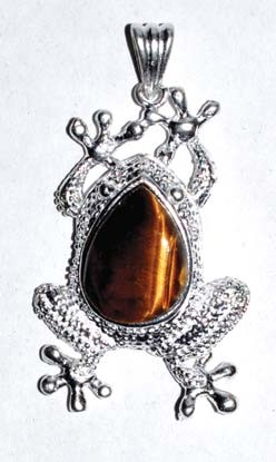 Frog Tiger Eye gemstone pendant