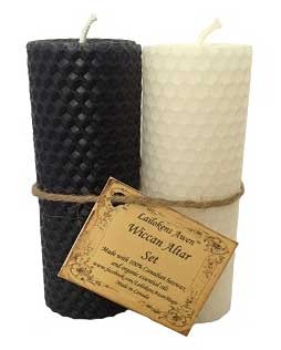 Wiccan Altar set black & white Candle