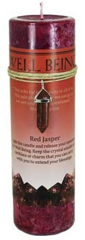 Well Being pillar candle with Red Jasper pendant