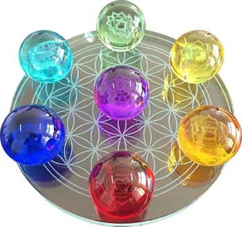 Chakra Flower of Life set crystal balls