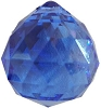 Blue faceted crystal ball  30 mm