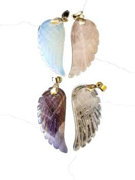 Angel Wing Crystal Pendant asst (pack of 4)