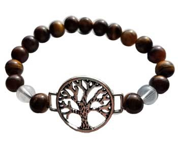 Tiger Eye/ Quartz with Tree of Life Bracelet