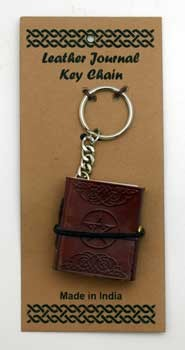 Pentagram leather journal key chain