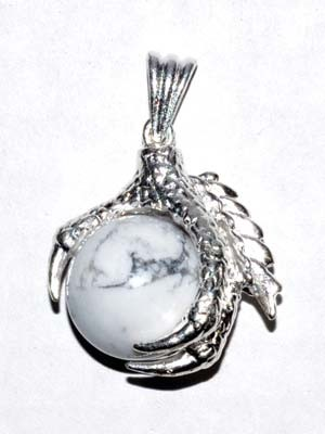 Eagle Claw Howlite gemstone pendant