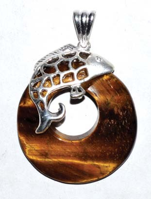 Fish Tiger Eye gemstone pendant