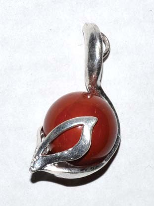 Lotus Red Jasper gemstone pendant