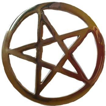 Gold plated Pentagram altar tile 5 3/4