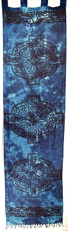 Blue Celtic Cross Curtain Pair