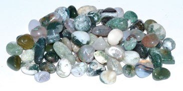 Agate, Moss tumbled chips 7-9mm 1 lb