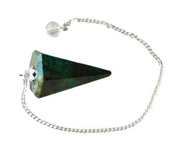 6-sided Chrysocolla pendulum