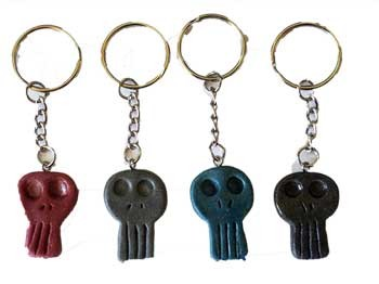 "Skull key ring 1 1/4"" resin"