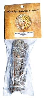 "4"" White Sage, Blue Sage & Yerba Santa smudge stick"