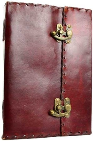 1842 Poetry leather blank book w/ latch extra large